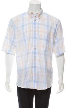 Burberry Plaid Polo Button-Up Shirt