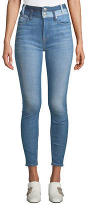 7 For All Mankind High-Waist Ankle Skinny Jeans w/ Double Waistband