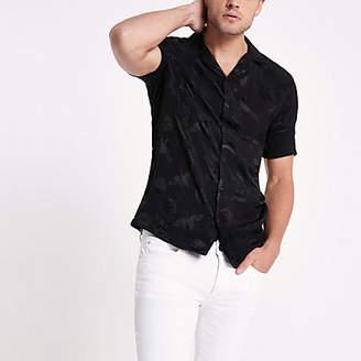 River Island Black crane print jacquard revere shirt