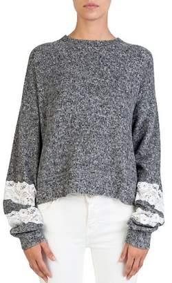 The Kooples Fleece Lace-Trim Sweatshirt