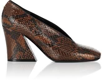 Dries Van Noten Women's Angled-Heel Stamped Leather Pumps
