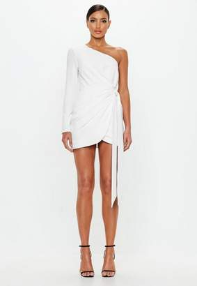 Missguided Ivory Wrap One Shoulder Mini Dress