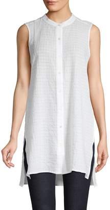 Eileen Fisher Mandarin Collar Button-Down Tunic