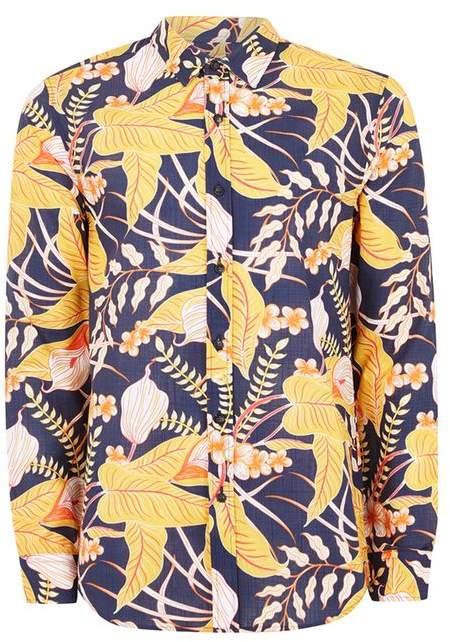 Hemd mit floralem Design, blau und gelb