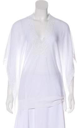 Autumn Cashmere Crochet-Trimmed Dolman Sleeve Top