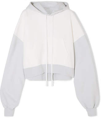Unravel Project - Oversized Cropped Two-tone Cotton-terry Hoodie - White