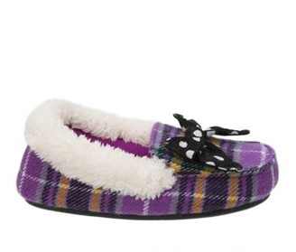 Dearfoams Girl's Plaid Moccasin with Polka Dot Bow Slippers