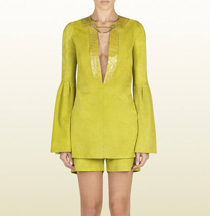 Gucci Lime Suede Tunic With Crocodile Trim