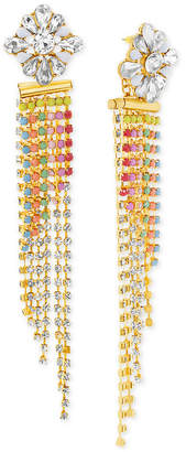 Steve Madden Gold-Tone Stone & Crystal Long Dangle Drop Earrings