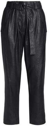 Brunello Cucinelli Cropped Belted Textured-Leather Straight-Leg Pants