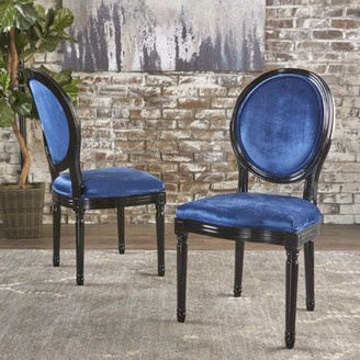 Noble House Diana Navy Blue Velvet Dining Chairs (Set of 2)
