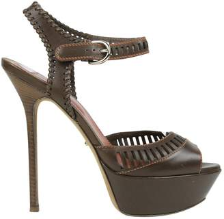 Sergio Rossi Brown Leather Sandals