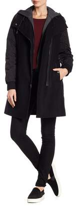Andrew Marc Rowan Hooded Wool Blend Coat