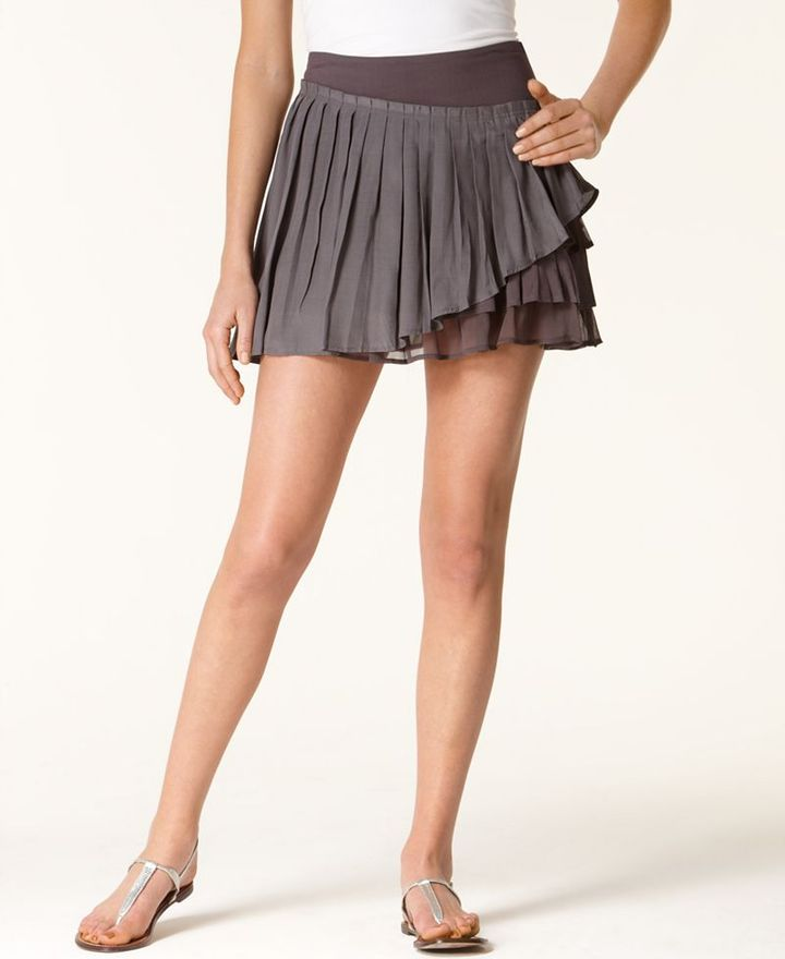 Free People Skirt, Gauze Pleated Tiered Mini