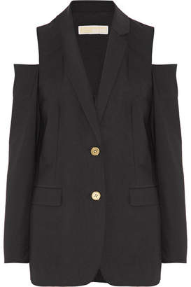 MICHAEL Michael Kors - Cold-shoulder Stretch-wool Blazer - Black $250 thestylecure.com