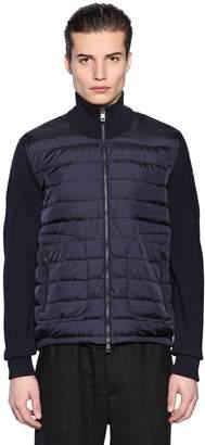 Moncler Nylon & Wool Knit Down Jacket