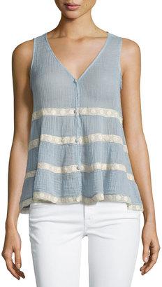 Love Sam Lightweight Lace-Trim Tank, Blue/Ivory $99 thestylecure.com
