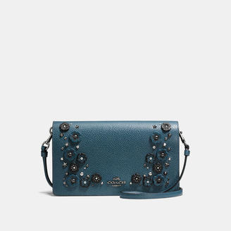 COACH Coach Foldover Crossbody Clutch In Polished Pebble Leather With Willow Floral Detail $225 thestylecure.com