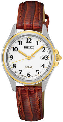Seiko Womens Brown Calfskin Strap Solar Watch SUT252