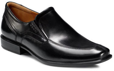 Ecco Cairo Leather Apron Toe Slip On Loafers