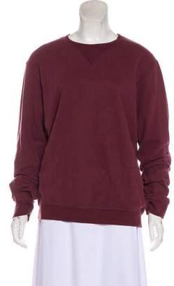 Maison Margiela Leather-Accented Crew Neck Sweatshirt