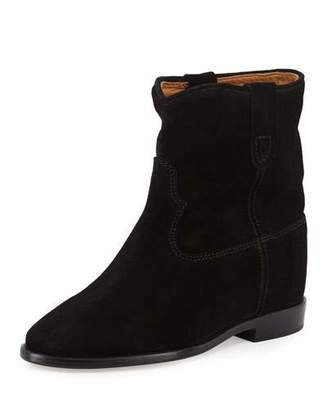 Isabel Marant Crisi Western Suede Flat Bootie, Black $680 thestylecure.com