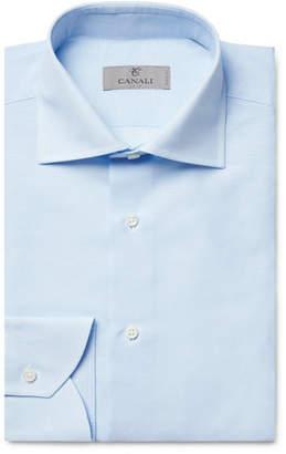 Light-Blue Cutaway-Collar Slub Cotton And Linen-Blend Shirt