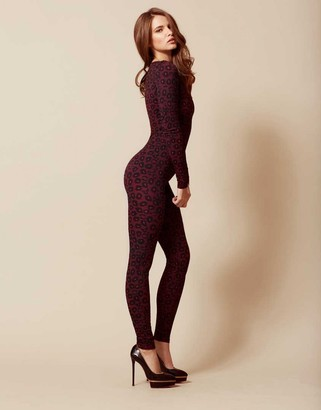Felinda Leopard Catsuit Red And Black $675 thestylecure.com