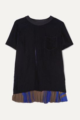 Sacai Pleated Printed Georgette And Velvet T-shirt - Navy