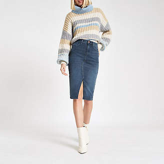 River Island Blue grey denim pencil skirt