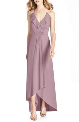 Jenny Packham Ruffle Neck Chiffon Gown