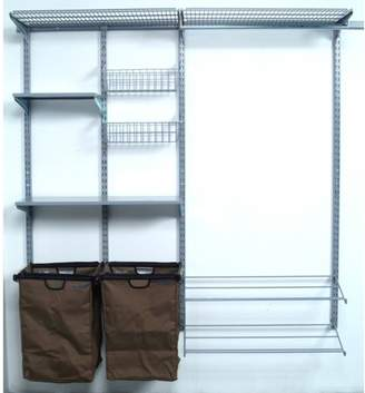 """Storability 66""""L x 63""""H Garment Wall Mount Storage System with (2) Shop/Rag Bags, Boot Rack, (2) Wire Shelves, (2) Wire Baskets, (2) Steel Shelves & Hardware"""