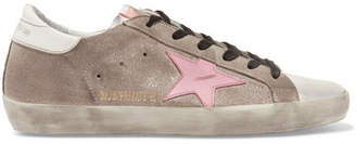 Golden Goose Superstar Distressed Glittered Suede And Leather Sneakers - Silver