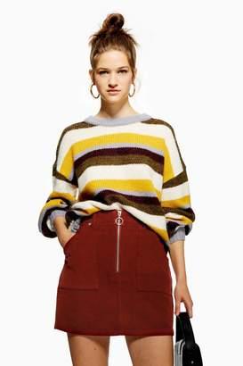 Topshop Corduroy Zip Up Skirt