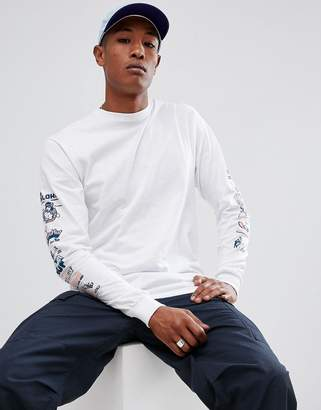 HUF collage long sleeve t-shirt with sleeve print in white