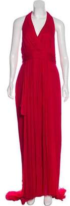 Marchesa Halter-Top Silk Gown