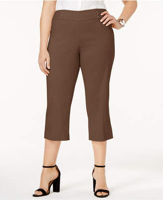 JM Collection Plus Size Tummy Control Pull-On Capri Pants