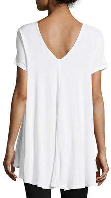 Joan Vass Short-Sleeve Double-V Jersey Swing Top