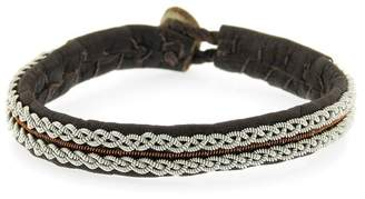 Maria Rudman Woven Pewter Handmade Single Wrap Brown Leather Bracelet