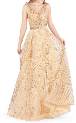 Mac Duggal Sequined V-Neck Sleeveless Belted Novelty Tulle Gown