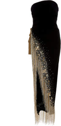 Oscar de la Renta Strapless Gown With Fringe And Bead Embellishments