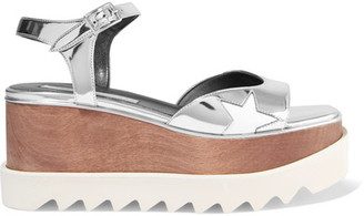 Stella McCartney - Metallic Faux Leather Platform Sandals - Silver $1,100 thestylecure.com