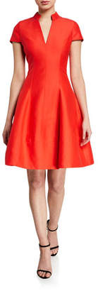 Halston V-Neck Cap-Sleeve Silk Faille Dress w/ Mandarin Collar