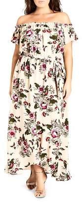 City Chic Plus Lolita Floral-Print Off-the-Shoulder Maxi Dress