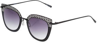 Ellen Tracy Cutout Cat-Eye Metal Gradient Sunglasses, Black