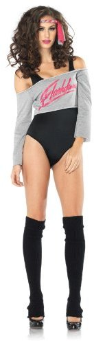 Leg Avenue Women' S 4 Piece Flashdance Bodysuit Set With Leg Warmers And Headband