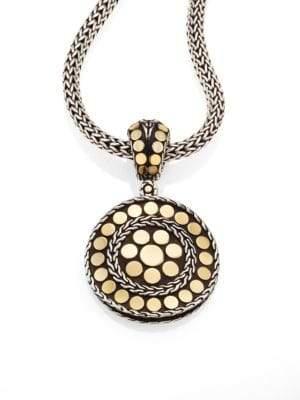 John Hardy Dot 18K Yellow Gold& Steling Silver Small Round Pendant