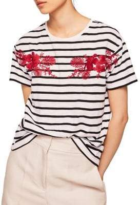 MANGO Striped Floral Embroidered Tee