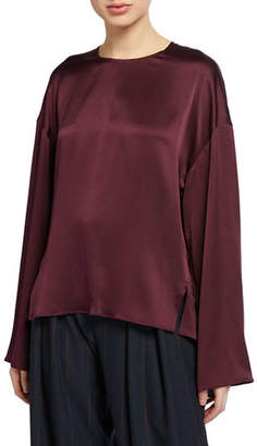 Vince Seamed-Front Long-Sleeve Silk Blouse