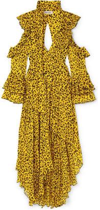 Diane von Furstenberg Ruffled Leopard-print Silk-georgette Wrap Maxi Dress